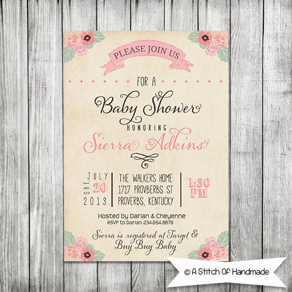 Elegant Baby Shower Invite - 5x7 Printable Maybe change it for a - printable dinner invitations