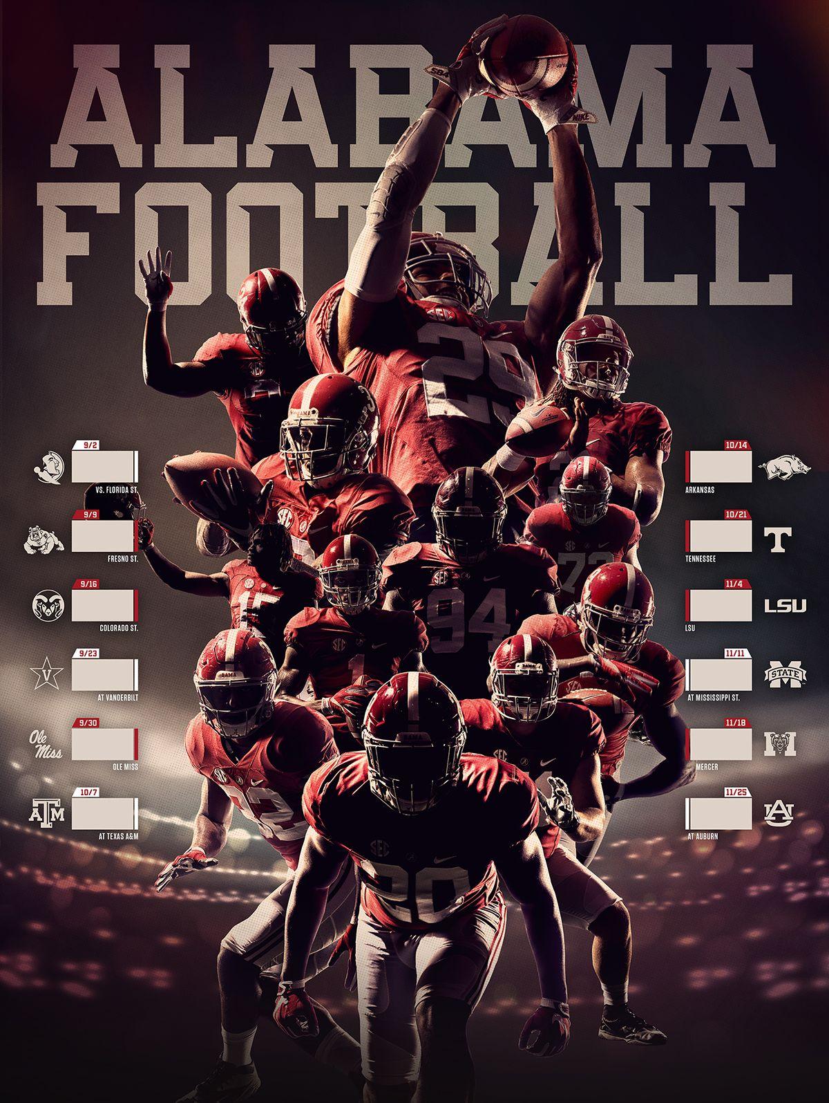 Alabama Football Schedule Poster 2017 On Behance Alabama Crimson Tide Football Alabama Football Schedule Alabama Football