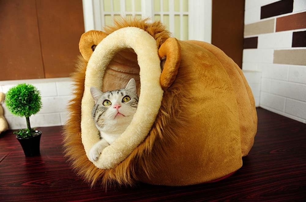 Lion Shaped Cute Pet Bed House Low