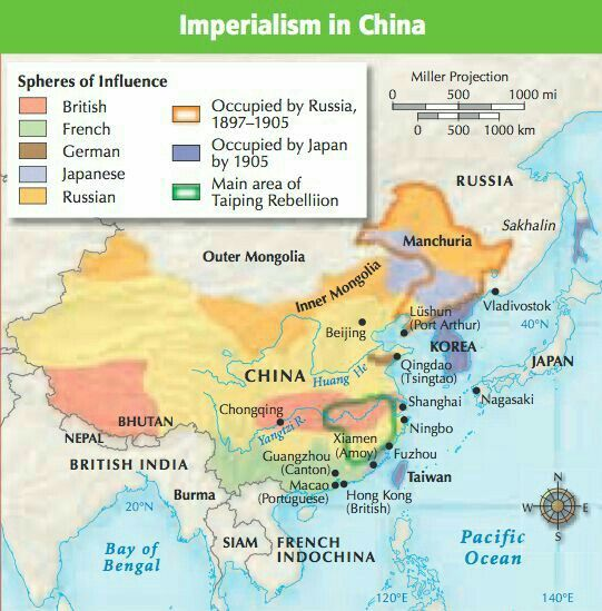 Imperialism In China Areas Of Influence Of Imperial Powers In China
