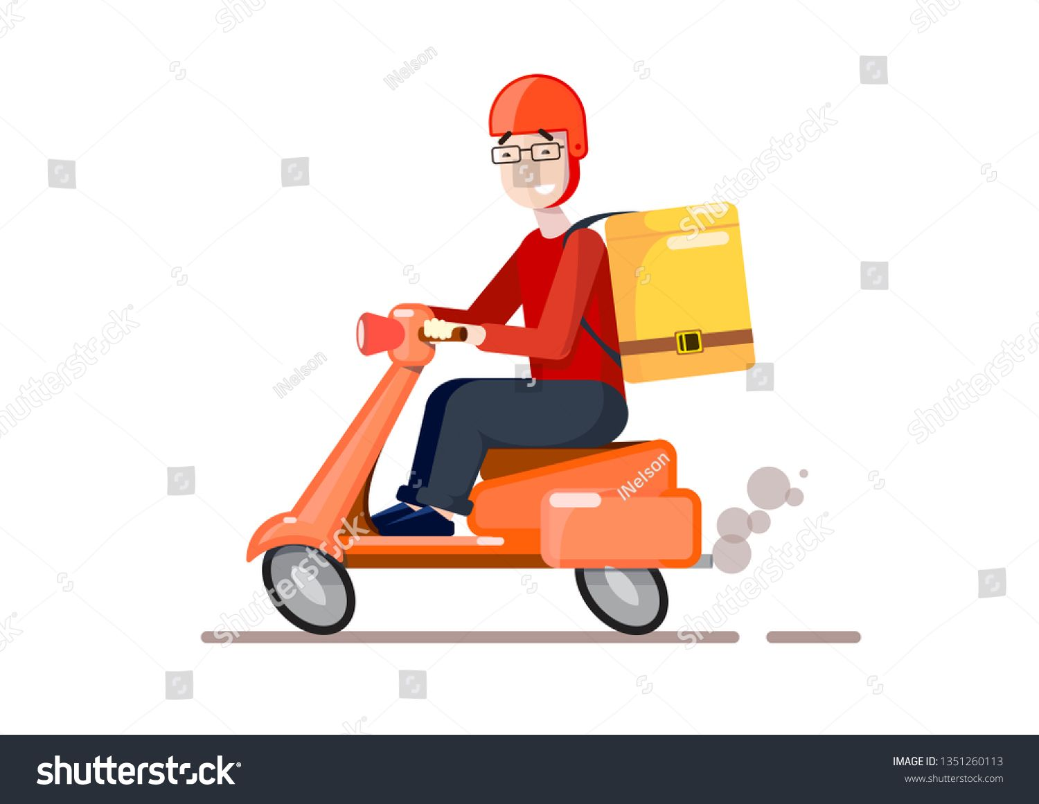 Delivery By Scooter Cartoon Style Vector Cartoon Illustration