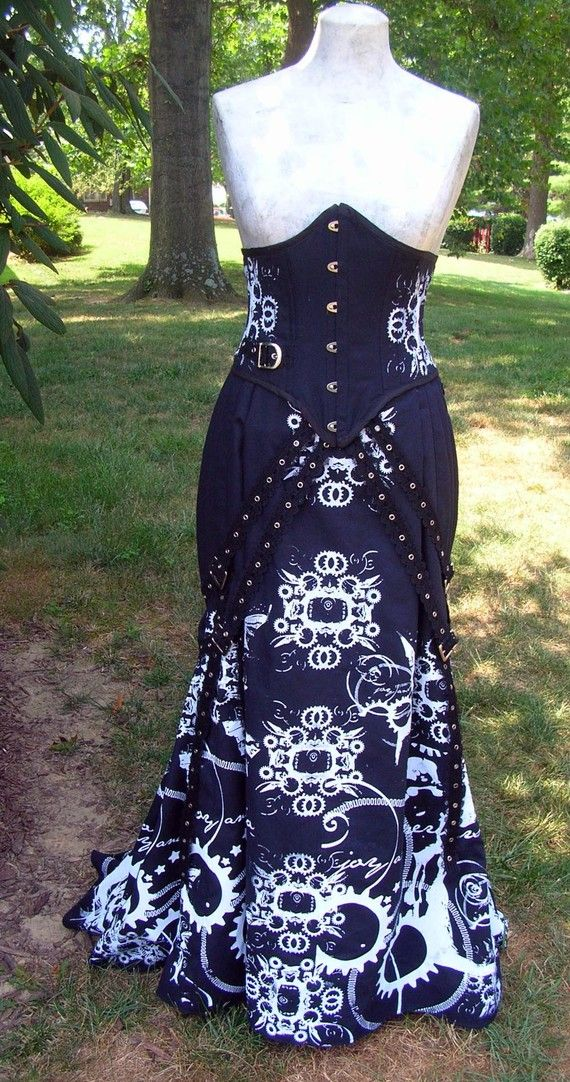 Fishtail steampunk skirt with straps and gear print... awesome enough to be worth $350