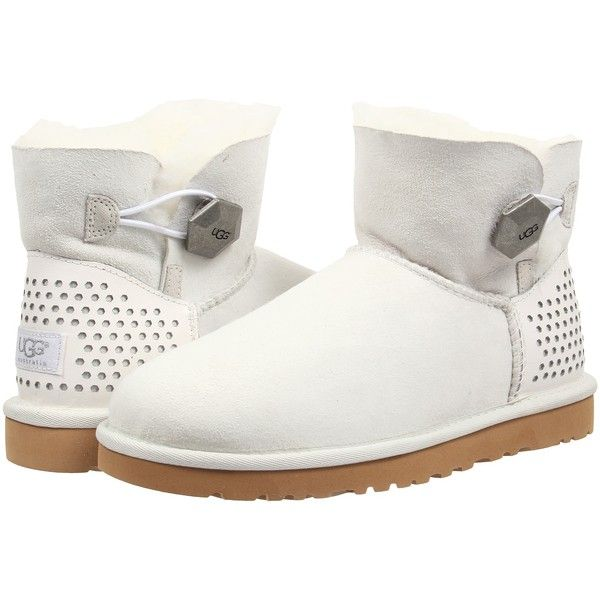 Womens Boots UGG Mini Bailey Button Geo Perf White Twinface