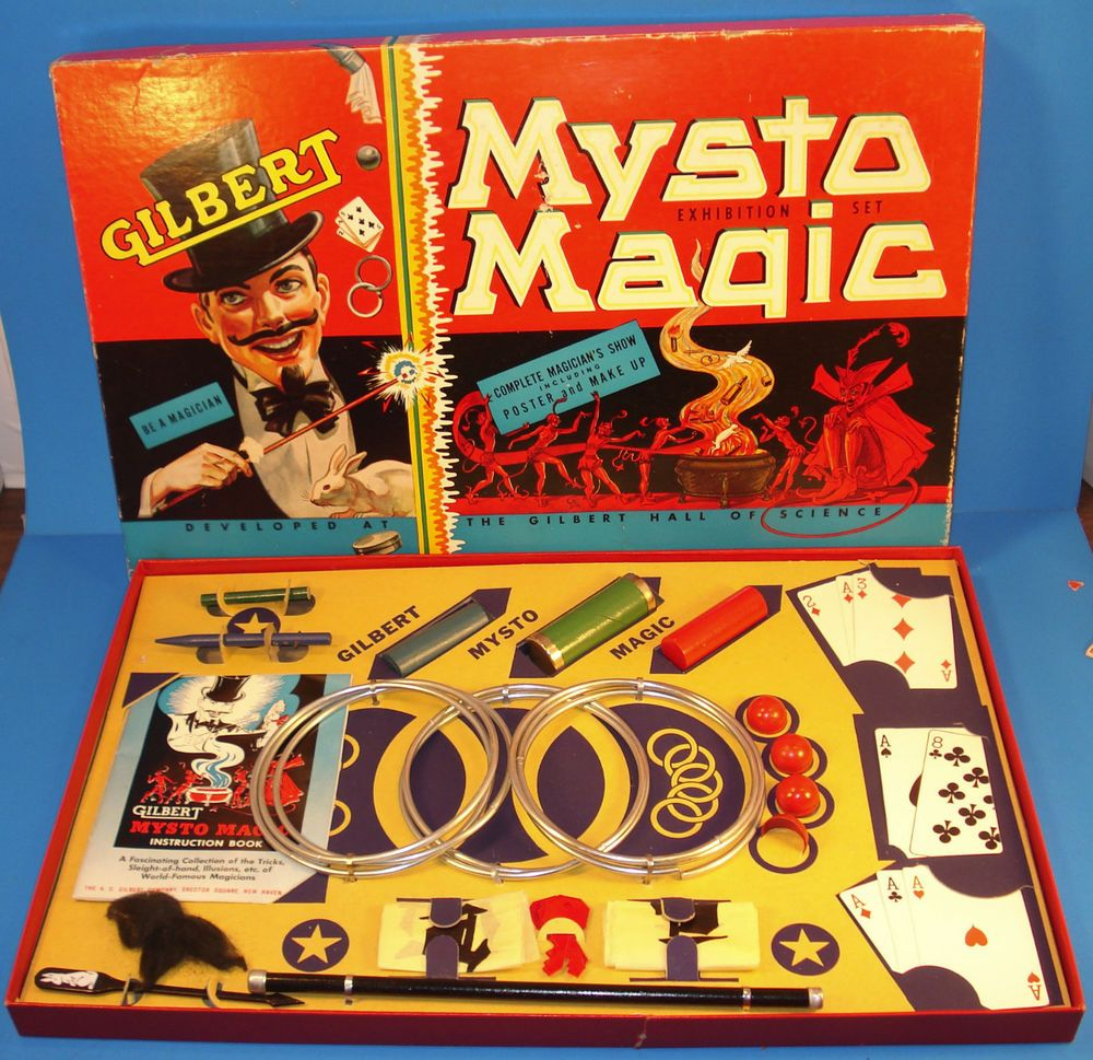 Gilbert Mysto Magic Set No.2-Complete w/ instructions,poster,all tricks-vFINE-Oo