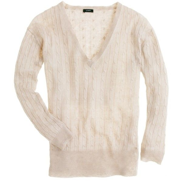 Linen V-neck cable-knit sweater featuring polyvore women's fashion clothing tops sweaters side slit sweater linen sweater chunky cable knit sweater drape sweater v neck cable knit sweater