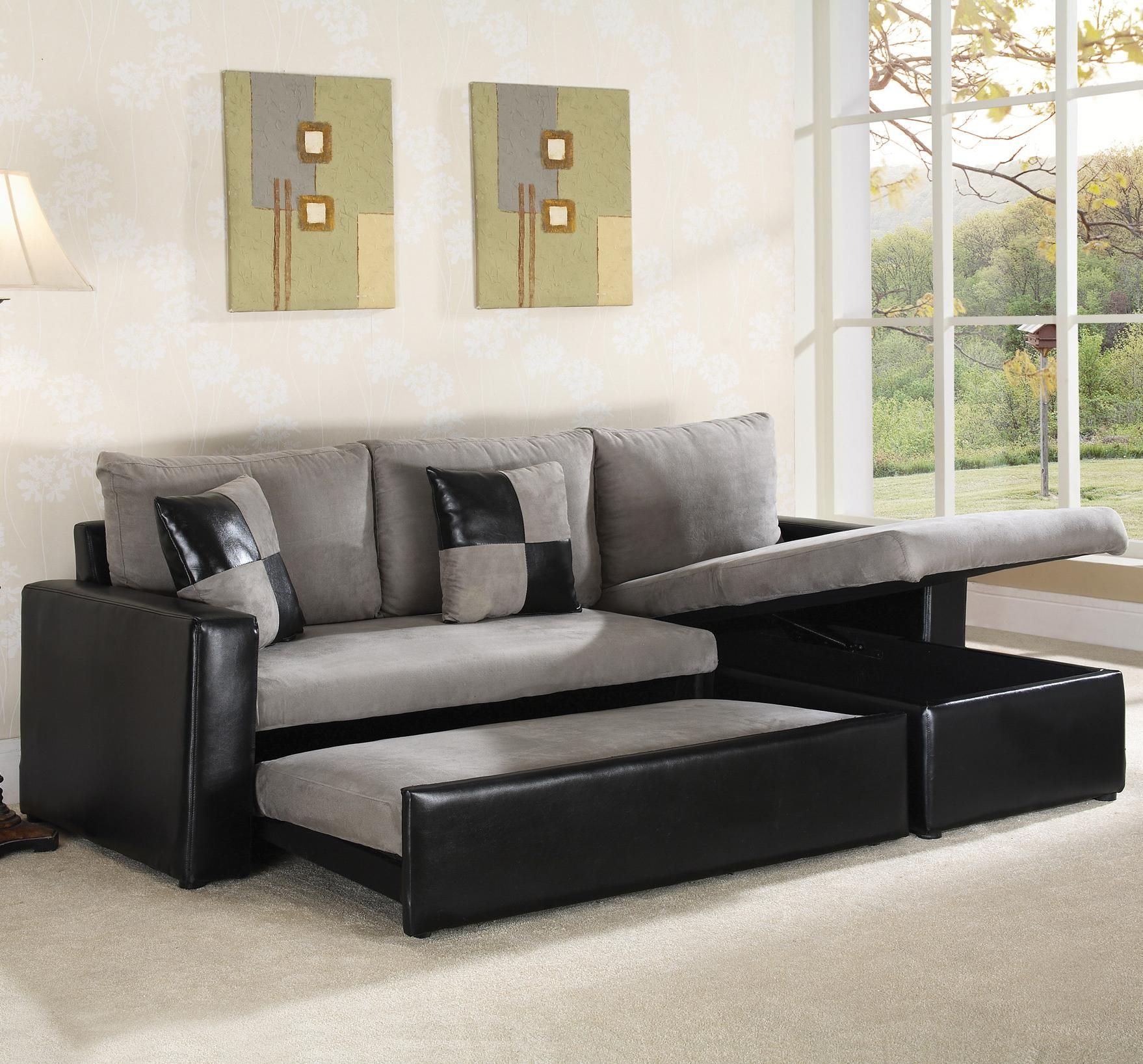 Sofa Tables Furniture Grey Fabrics Materials Combine With Black Leather Covering Elegant Cozy Sleeper Sofa Sleeper Sofa One of Wonderful Also Useful Furniture