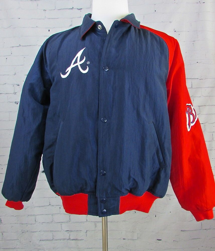 Men S Vintage Atlanta Braves Starter Jacket Windbreaker Made In Usa Size Large Mens Blazer Jacket Jackets Vintage Men