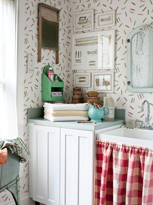Even A Laundry Room Can Have Personality Love This Clothespin Print Wallpaper And Matching Ironing Themed Artwork Personalstyle