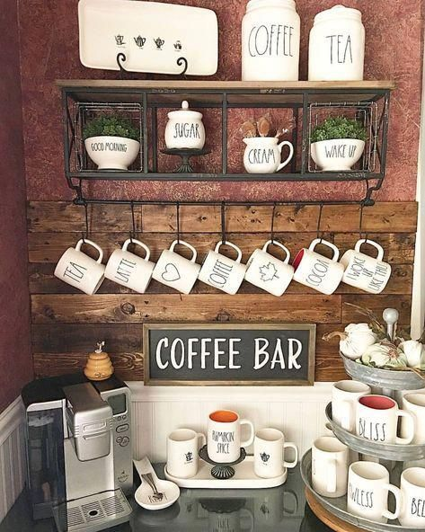 COFFEE BAR IDEAS - Great ideas for making your own coffee bar at home! This post is all about coffee bar furniture, station table, decor, and interior in your home. In wooden style, basement, kitchen bar.