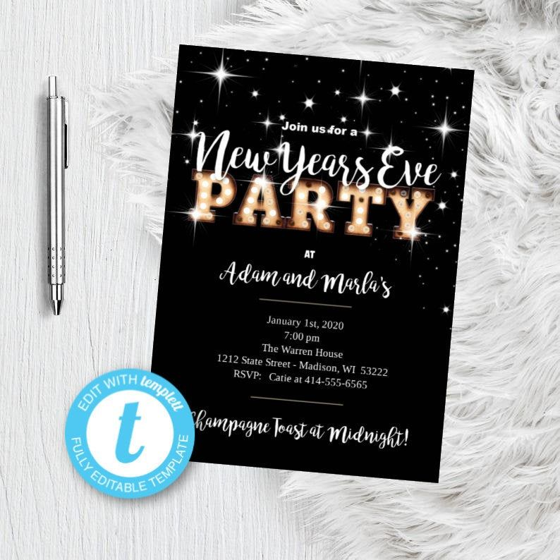 New Years Eve Invitation NYE Party Invitation Black