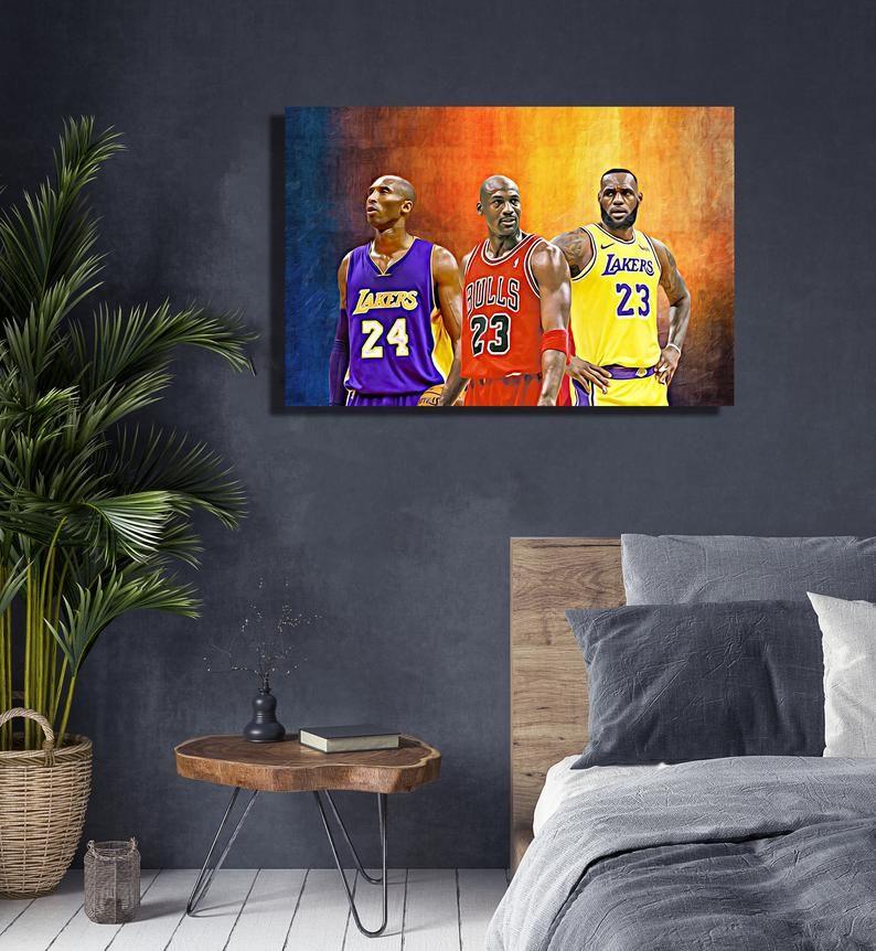 Michael Jordan Kobe Bryant Lebron James Basketball Player Etsy Hang Canvas Art Kobe Bryant Lebron James Wall Canvas