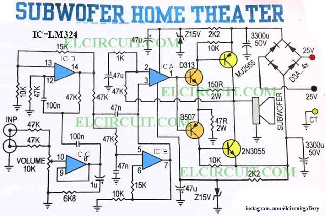 subwoofer home theater power amplifier pinterest circuit diagram rh pinterest com Bose Subwoofer Wiring Diagram wiring diagram for car amplifier and subwoofer