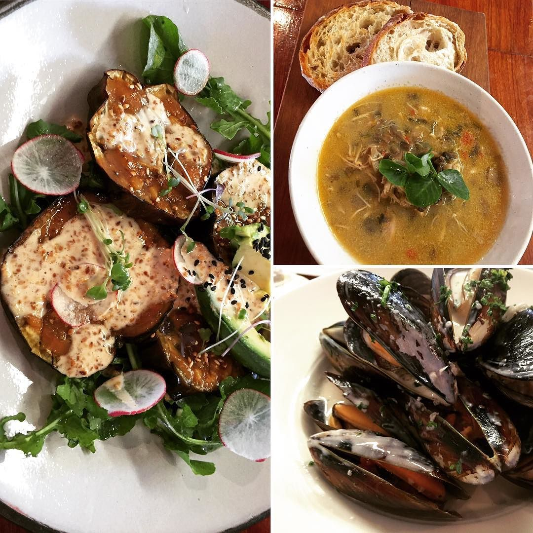 On our lunch menu the coming days: Grilled Aubergine Miso salad Chicken Mushroom Soup and West Coast Mussels.  #lunchinhermanus #auberginesalade #musselsforlunchplease #blackmussels #everchangingmenu #eateryhermanus #hermanus