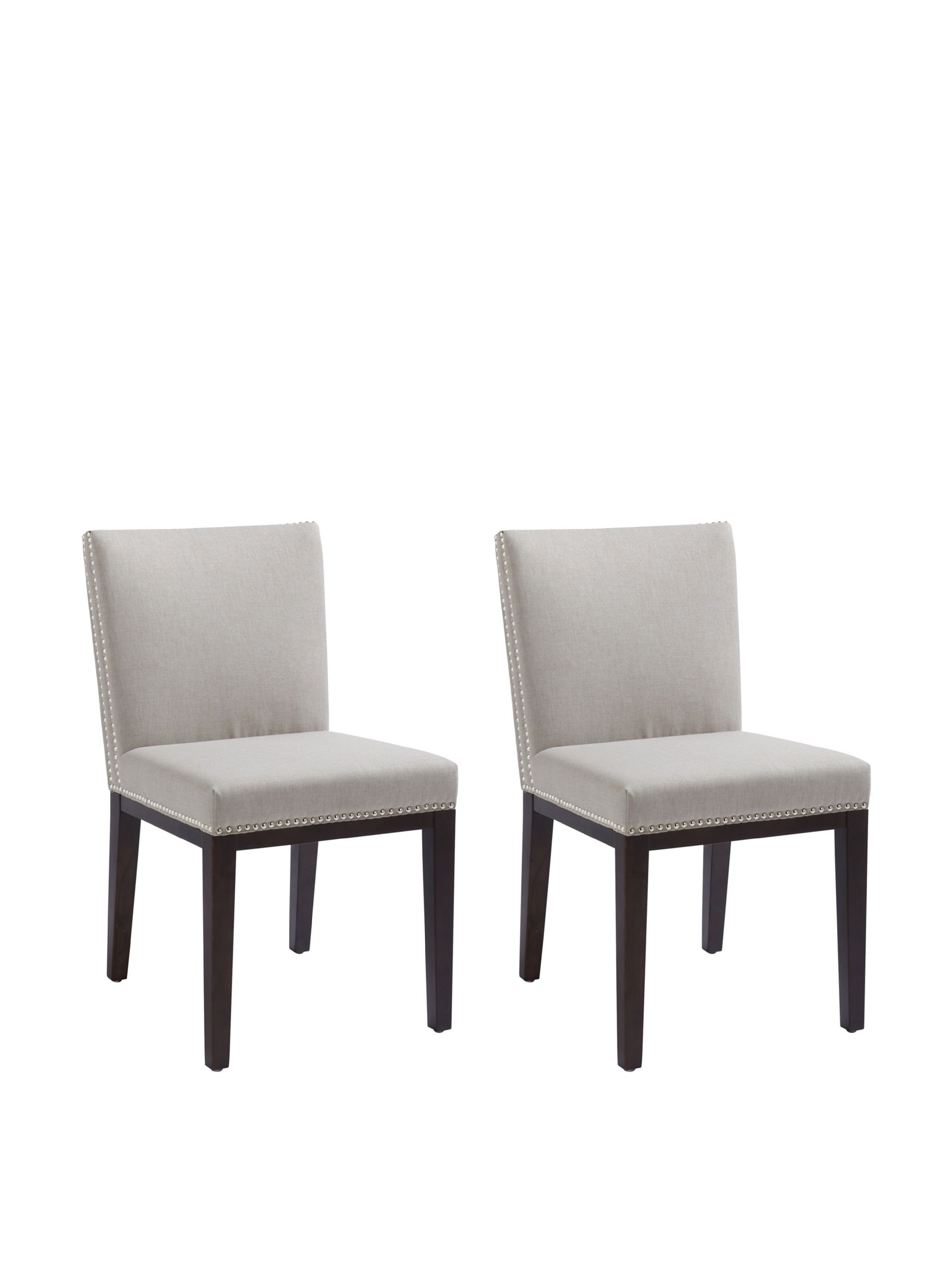 Sunpan set of 2 vintage chairs grey classic design features a neutral linen like cushion with nailhead accents and espresso finished legs 18