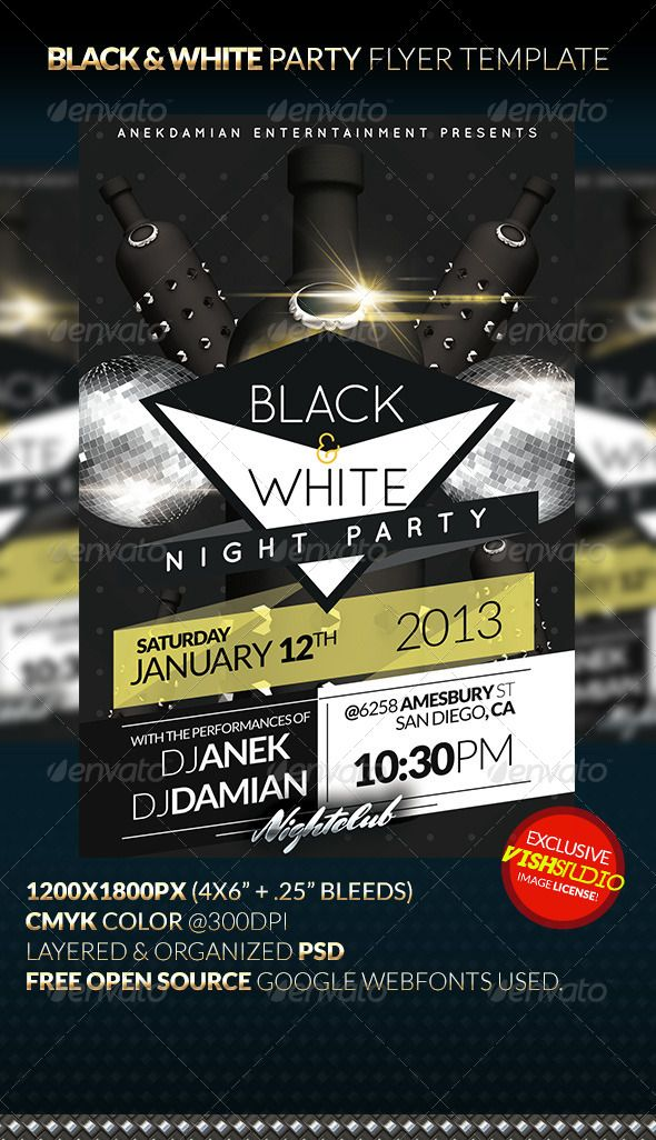 black white party flyer template lbd 5th anniversary 2014