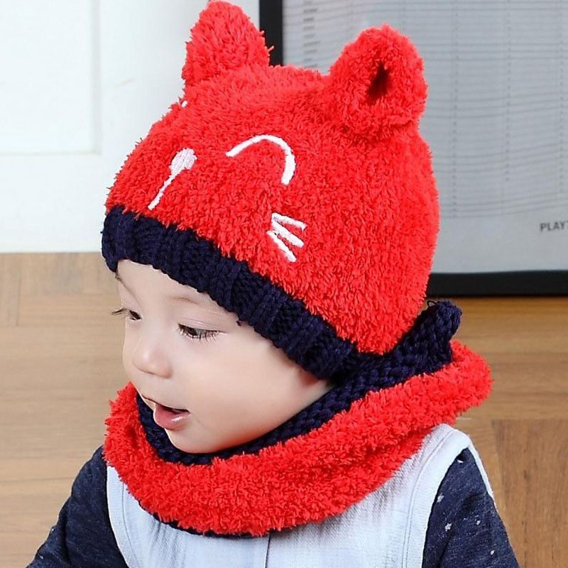 ff029330c89 2016 Korean Two ears little Bear kids boys Knitted hats winter 2 pcs fur  baby girl scarf hat set Age for 6 months-3 Years MZ4161