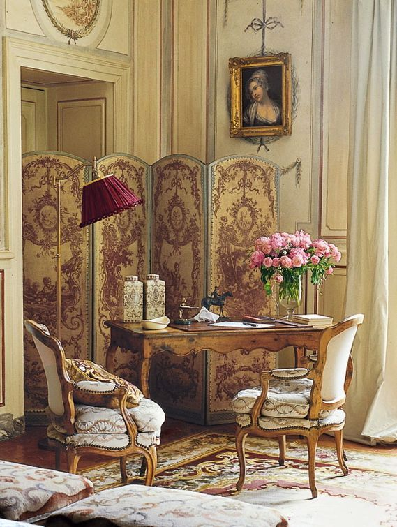 The Romance of Lovely walnut or fruitwood Louis XV Armchairs and writing desk.