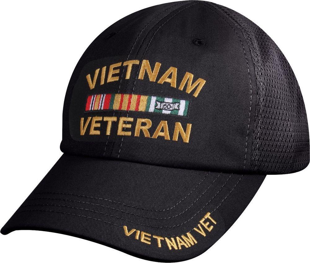 Black Vietnam Veteran Deluxe Military Low Profile Mesh Back Baseball Hat Cap   Rothco  BaseballCap 461e4521b51