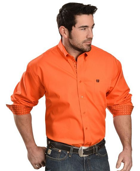 Cinch ® Bright Orange Long Sleeve Shirt | Western Clothing ...