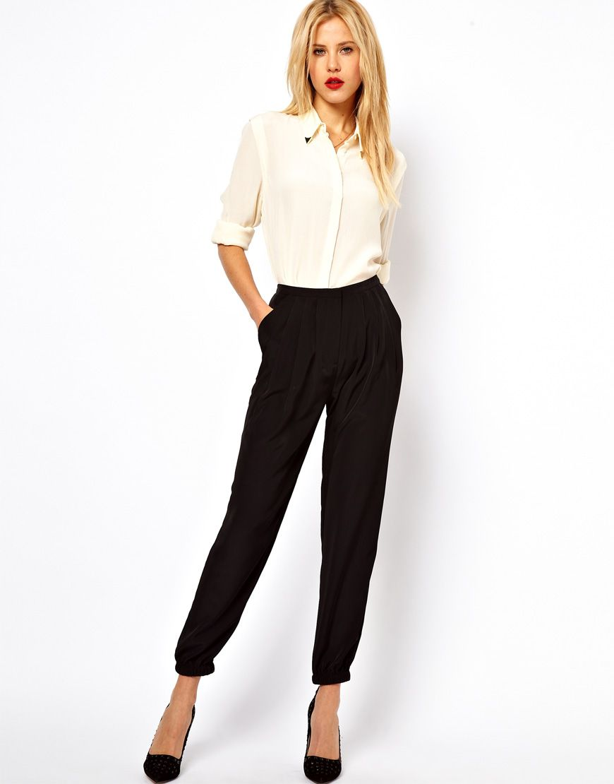 How To Hem Pants With A Cuff Asos Asos Pants With Elastic Cuff Hem At Asos High Fashion Street Style Work Fashion Professional Outfits
