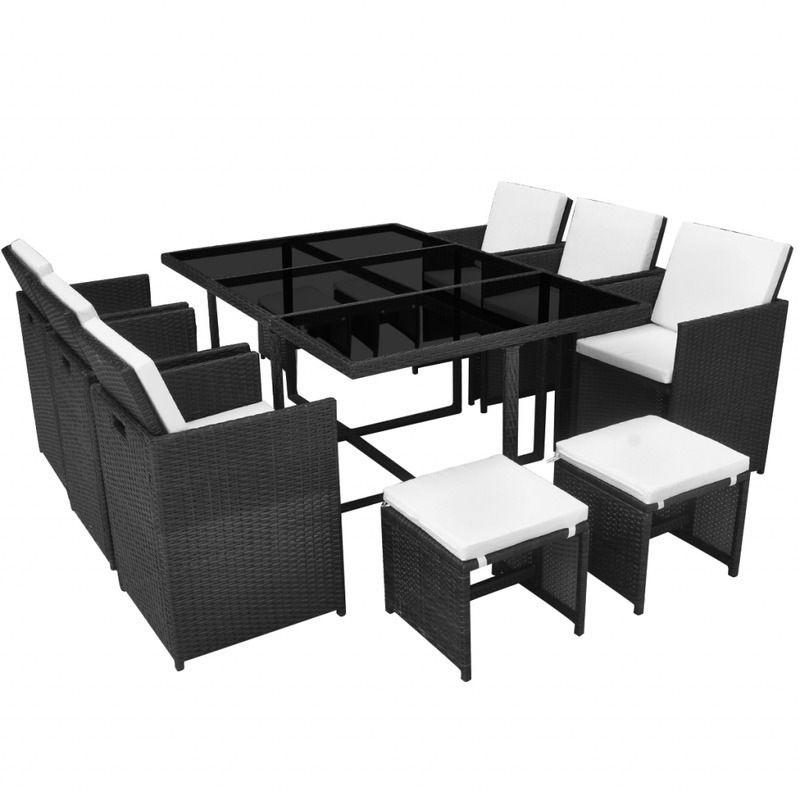 Vidaxl Outdoor Dining Set 27 Piece Black Poly Rattan Garden Table Chair Stool Rattan Garden Furniture Sets Outdoor Dining Set Patio Furniture Conversation Sets