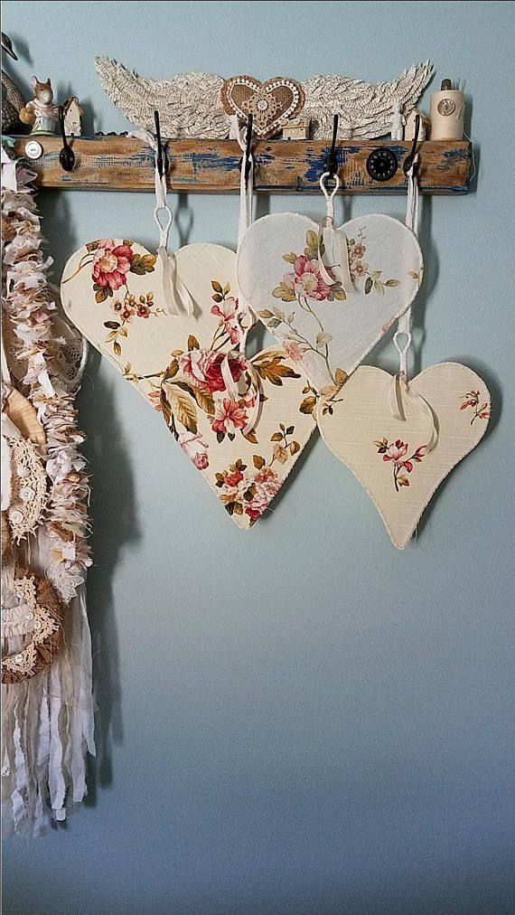 Heart, Wire Heart, Fabric Heart, Set of Hearts, Pink Flower Fabric ...