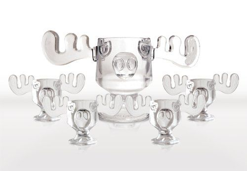 christmas vacation glass moose mug punch bowl set w set of 4 moose mugs christmas vacation collectibles