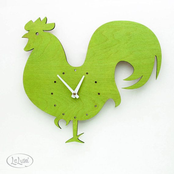The Wake Up Lime Green Rooster wall mounted clock from by LeLuni, $52.00