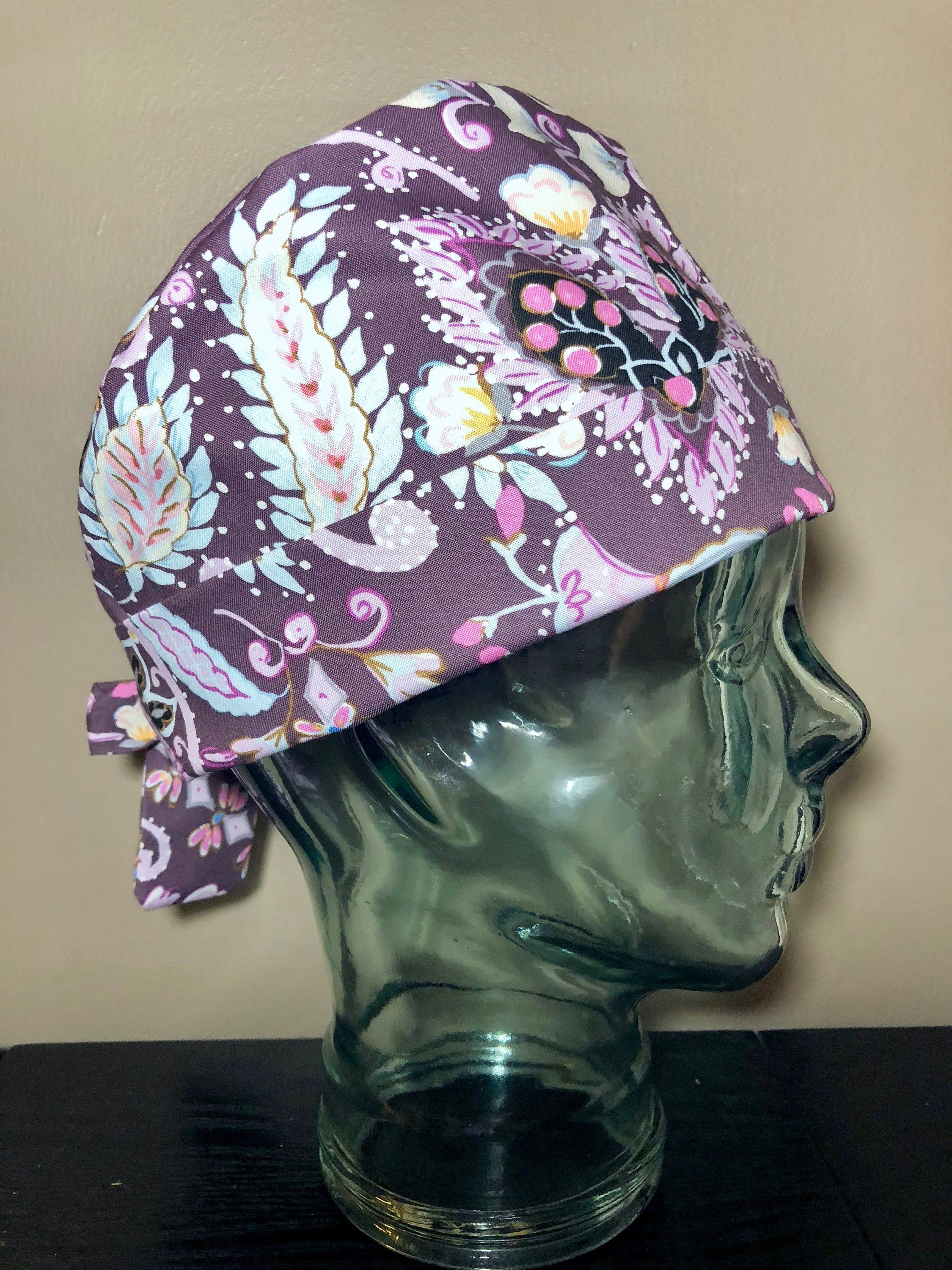 Plum Paisly Surgical Scrub Hat 3f062a2226a