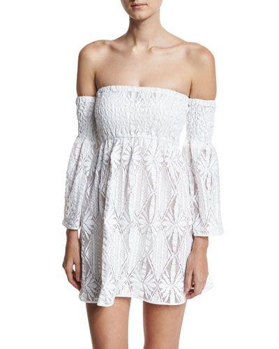 Shop Floral Crochet Off-the-Shoulder Smocked Coverup Mini Dress 7e01247fa0705