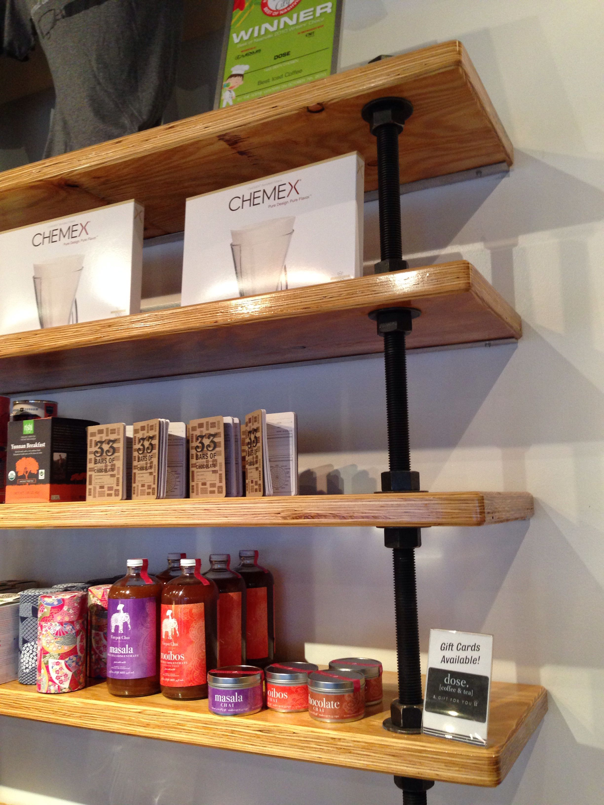 Shelving In Coffee Shop Using Large Threaded Rod