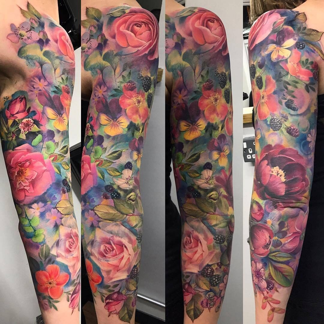Pin By Tarastyme On Tattoo Ideas Colorful Sleeve Tattoos Sleeve Tattoos Half Sleeve Tattoos Color