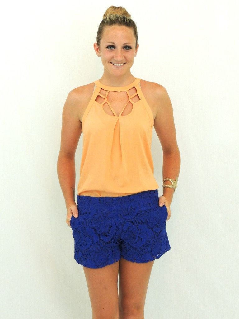Royal blue lace dress styles  These shorts are very cute and would dress up a slightly less than
