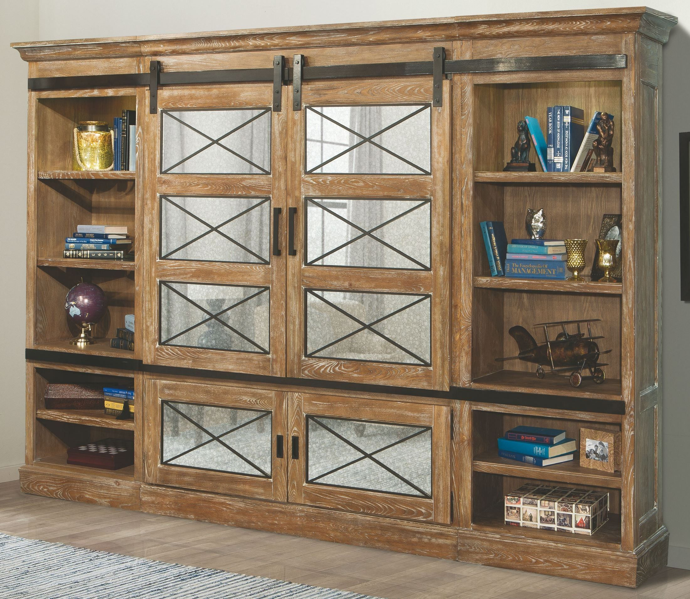 Parker House Annapolis 4 Piece Sliding Door Entertainment Wall Unit In Vintage Weathered Ash Antique Mirror