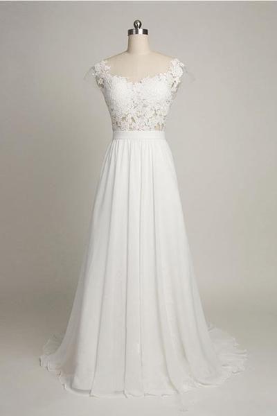 Photo of White chiffon lace round neck long dresses,elegant bridesmai…