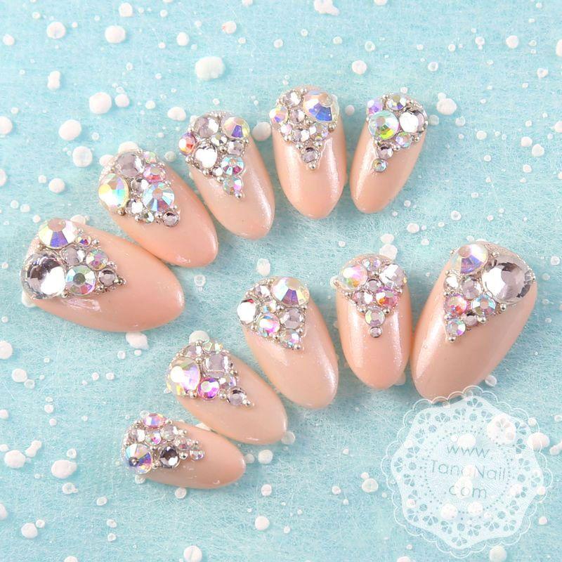 Japanese 3d nail art press on nails false nails sparkling japanese 3d nail art press on nails false nails sparkling rhinestones nude nails prinsesfo Image collections