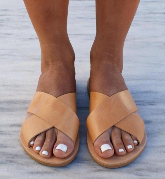4d9f6737643b80 ERIS sandals  ancient Grecian leather sandals  slide sandals