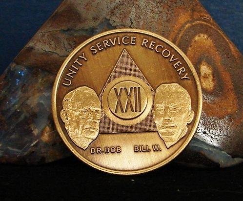 Fog Light Prayer Color Light House AA Medallion Bronze Foglight Sobriety Chip