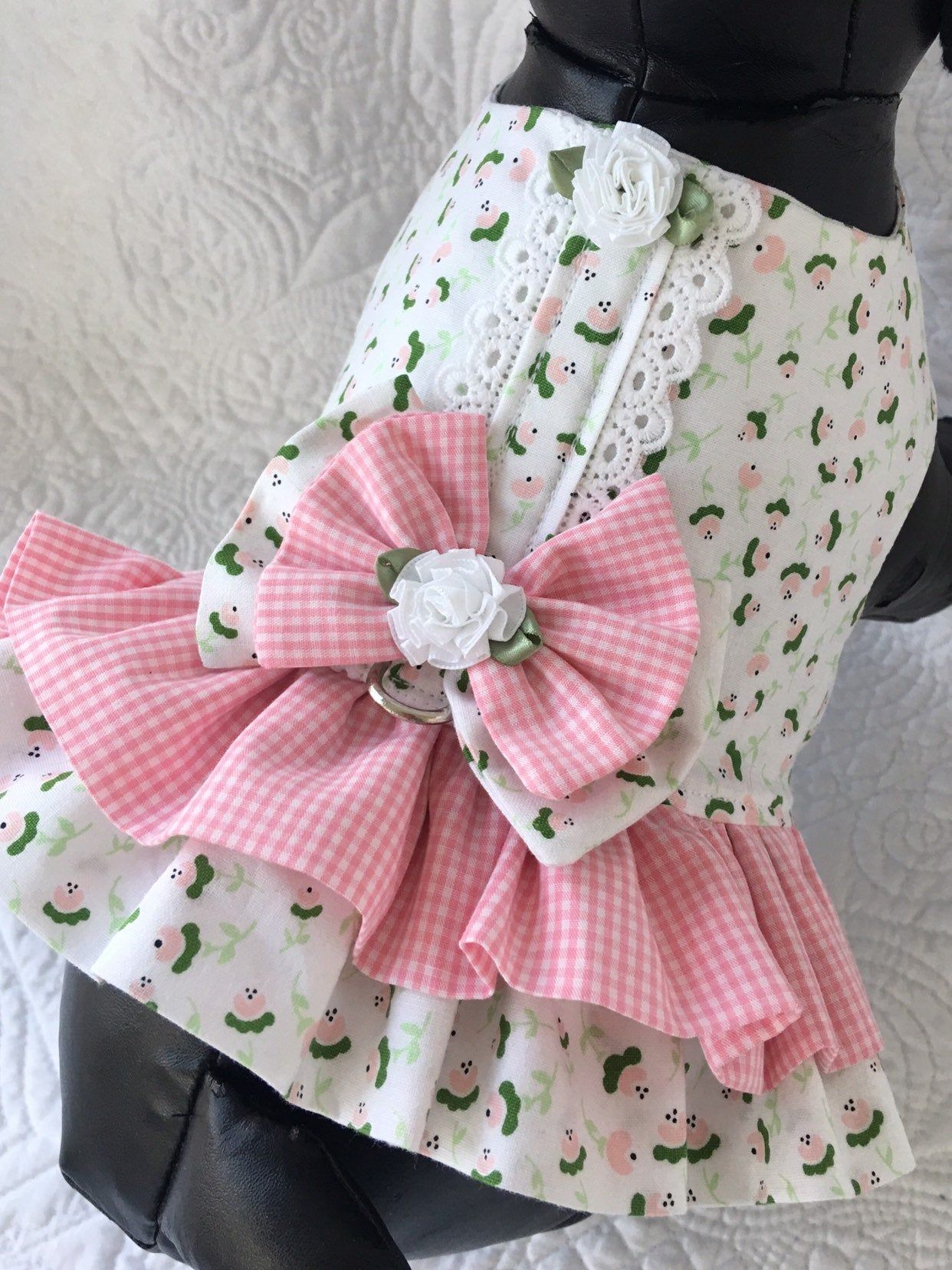 Dog Harness Ruffled Shabby Chic Ruffled Dog Harness or
