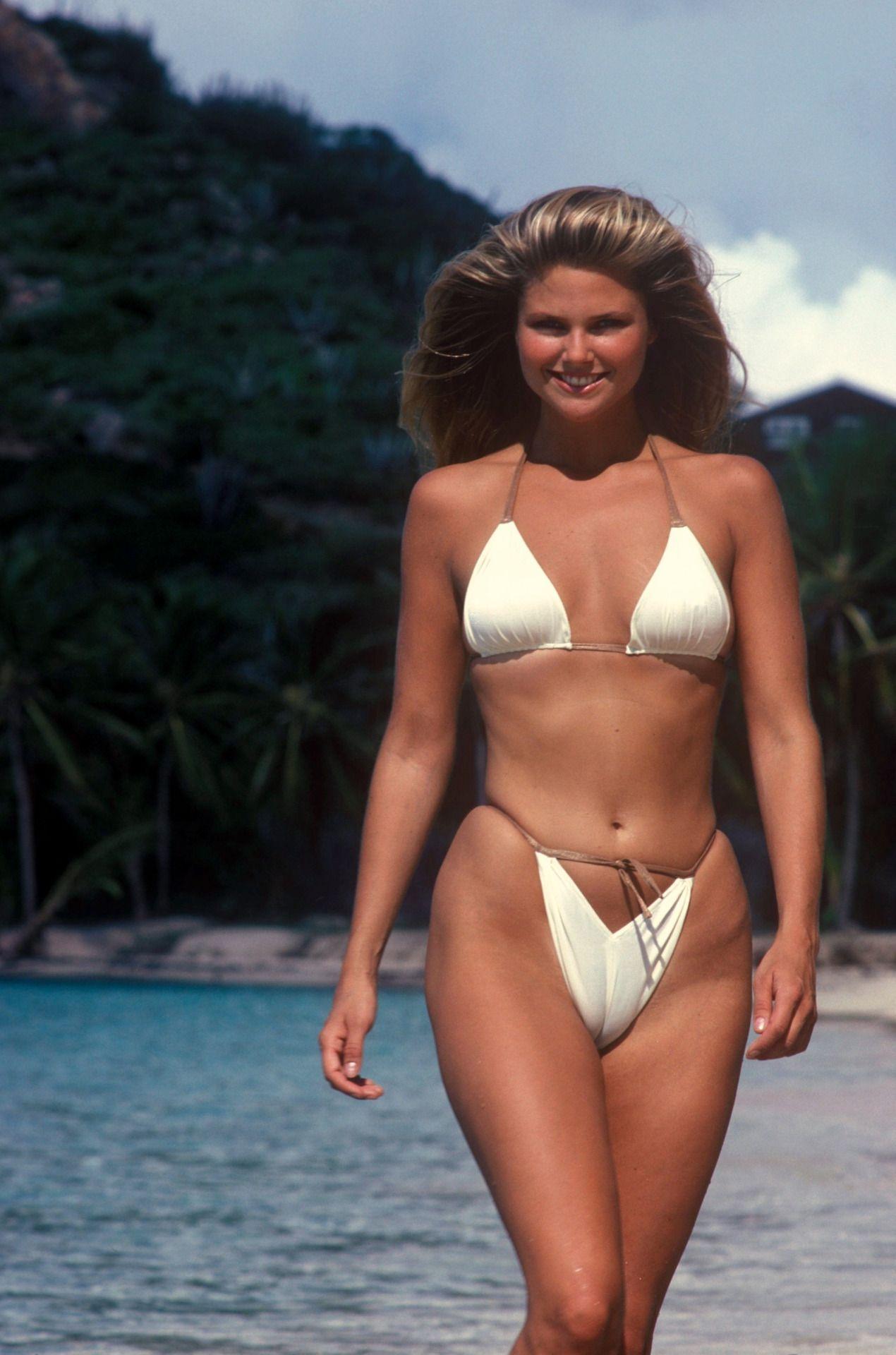 old school christie brinkley in skimpy and tight bikini