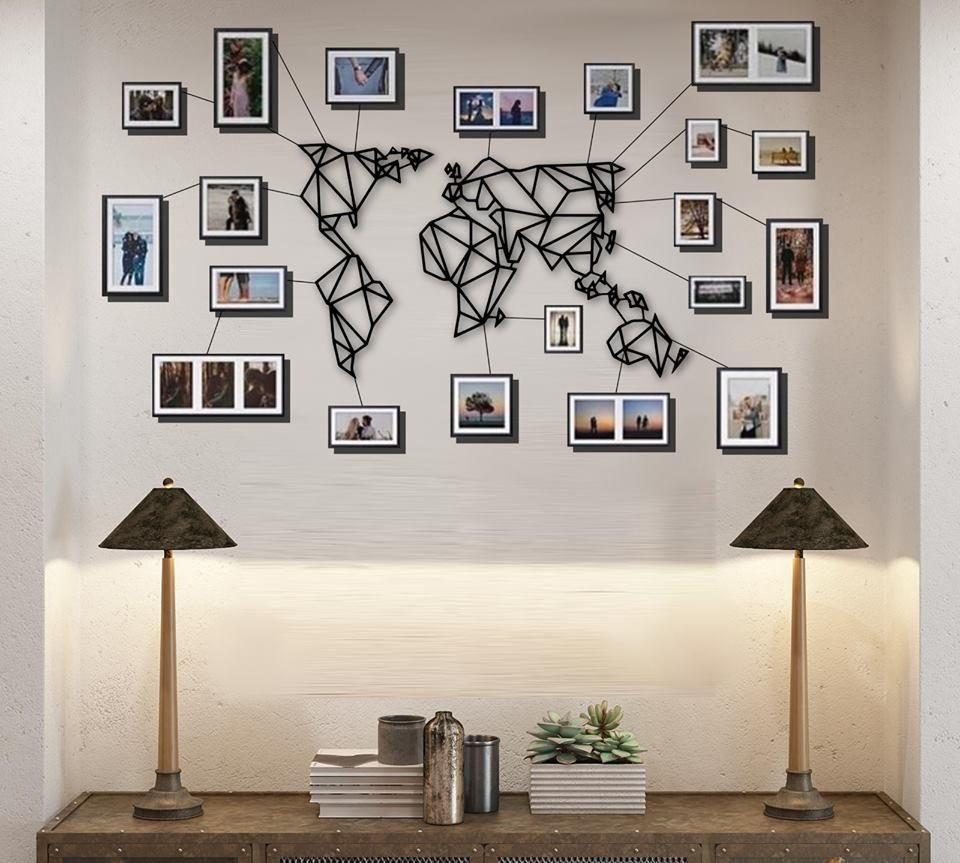Geometric Metal World Map Wall Art White Black Small Size