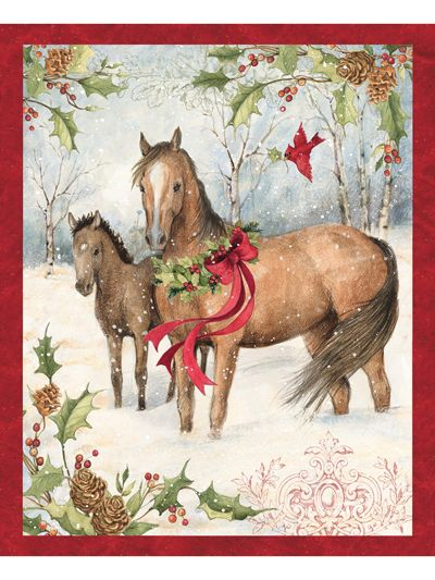 Horse Farm Scenic Cotton Fabric Panel 36 X 44 Great for Quilting, Sewing, Craft Projects, Quilt or Wall Hanging
