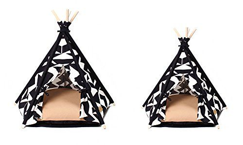 Designer Pet Teepee Tent with Matching Cushion Bed (Tip White, Small) I want this for my little puppy