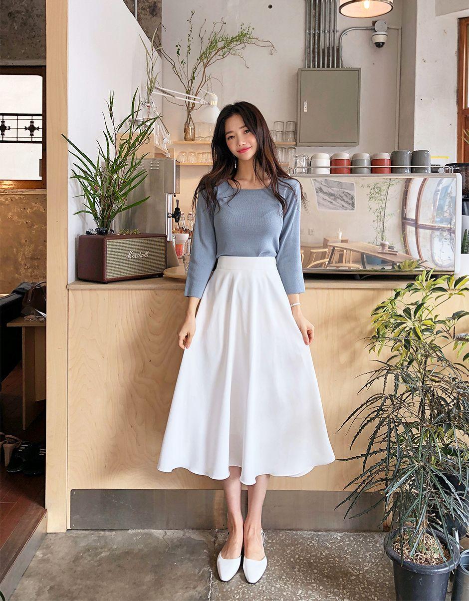 [STHSWEET] CHUU Smoothie Square Neck Knit -   4 dress Korean skirts ideas