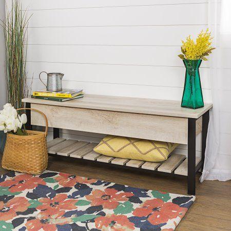 48 Inch Open Top Storage Bench With Shoe Shelf White Oak Multiple