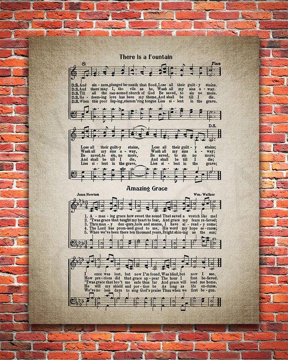 There Is A Fountain Hymn Print Sheet Music Art Hymn Sheet Home Decor Inspirational Art Gift Instant Download Hymn 012 Print Sheet Music Sheet Music Art Hymn Art