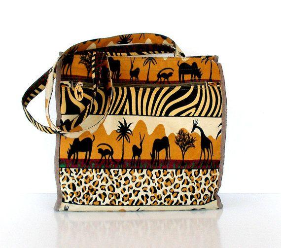 50% OFF Vintage Canvas Bag African Animals Print Handbag Black Gold Tan by JADE
