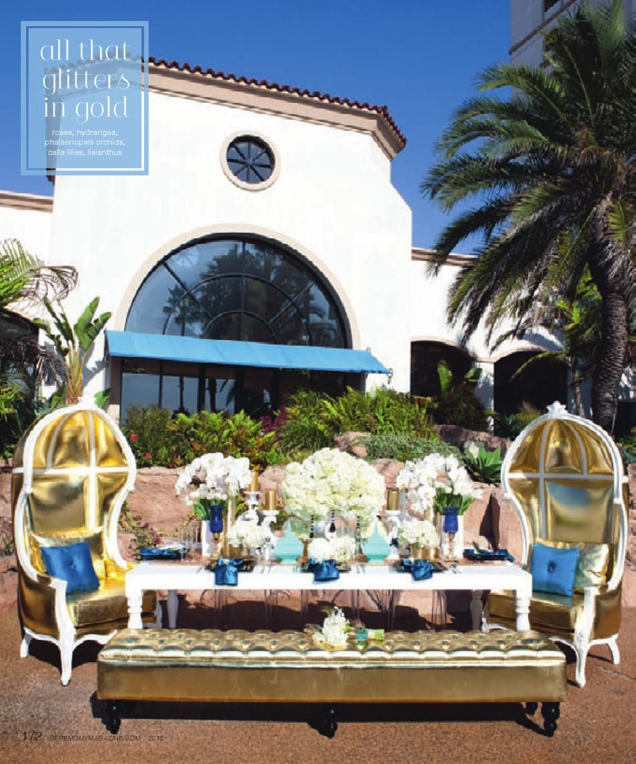 Blue and gold wedding decor  Ceremony Magazine  Orange County  Wedding lounge Gold weddings