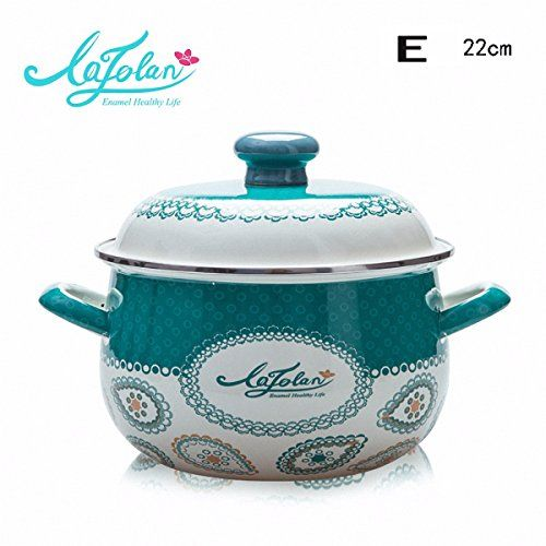 XiangYan Large capacity double handle thickened enamel pot, gas cooker induction cooker ...