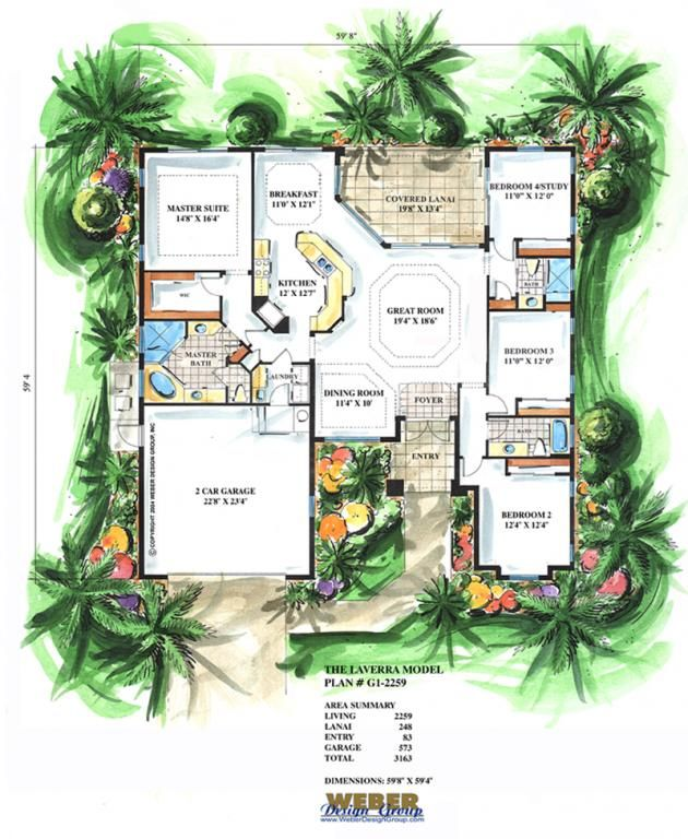 California House Plan 1 Story Coastal Mediterranean Home Floor Plan Florida House Plans Mediterranean Style House Plans Mediterranean House Plan